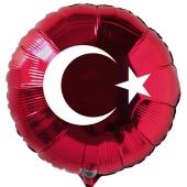 Türkische Flagge Luftballon aus Folie mit Helium-Ballongas, roter Rundballon