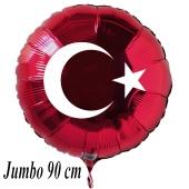Türkische Flagge Großer Luftballon aus Folie mit Helium-Ballongas, roter Rundballon