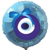 Türkisches Auge Luftballon aus Folie mit Helium-Ballongas, türkiser Rundballon, Nazar