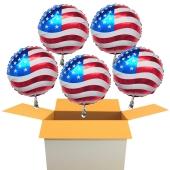 Luftballons USA Flagge, Folienballons Rund, 45 cm, mit Ballongas, 5 Stück