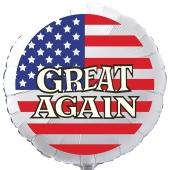 GREAT AGAIN USA Luftballon aus Folie, 45 cm Rundballon mit Helium-Ballongas