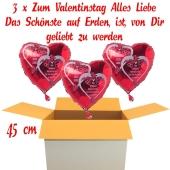 Valentinsgrüße im Karton, 5 x Zum Valentinstag Alles Liebe Herzluftballons mit Helium