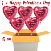 Valentinsgrüße im Karton, 5 x Happy Valentine's Day Herzluftballons mit Helium