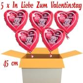 Valentinsgrüße im Karton, 5 x In Liebe zum Valentinstag Herzluftballons mit Helium