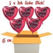 Valentinsgrüße im Karton, 5 x Ich liebe Dich Herzluftballons mit Helium