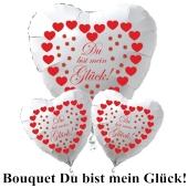 """Valentinstag Ballon-Bouquet """"Du bist mein Glück""""! rote Herzen und Glücksklee"""