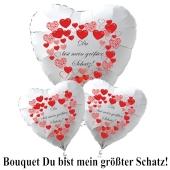 """Valentinstag Ballon-Bouquet """"Du bist mein größter Schatz""""! rote Herzen"""