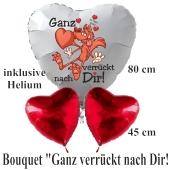 """""""Ganz verrückt nach Dir! Ich liebe Dich! Valentinstag Luftballon-Bouquet mit Helium"""