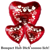 """Valentinstag Ballon-Bouquet """"Hab Dich sooooo lieb""""!"""