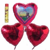 Valentinstag, schwebende Helium Luftballons, Bouquet 11, inklusive Heliumdose, Alles Liebe