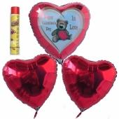 Valentinstag, schwebende Helium Luftballons, Bouquet 7, inklusive Heliumdose