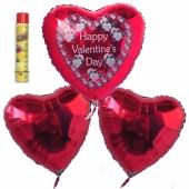 Valentinstag, schwebende Helium Luftballons, Bouquet 7, inklusive Heliumdose, Happy Valentine's Day