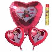 Helium Luftballons zum Valentinstag, Bouquet 1 inklusive Ballongasdose
