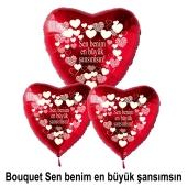 Valentinstag Bouquet Herzluftballons in Rot Sen benim en büyük şansιmsιn