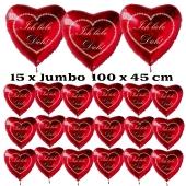 """Valentinstag Party-Set, 15 große Herzluftballons und 100 kleine Herzluftballons """"Ich liebe Dich"""" mit 20 Liter Ballongas Helium"""