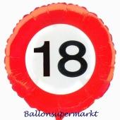 Luftballon zum 18. Geburtstag, Verkehrsschild Zahl 18, Traffic
