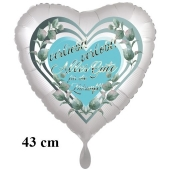 Verleibt! Verlobt! Alles Gute für die Zukunft! Herzluftballon, 43 cm, satinweiß, mit Helium
