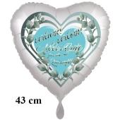 Verleibt! Verlobt! Alles Gute für die Zukunft! Herzluftballon, 43 cm, satinweiß, ohne Helium
