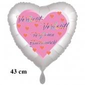 Verliebt! Verlobt! Herzlichen Glückwunsch! Herzluftballon, 43 cm, satinweiß, ohne Helium
