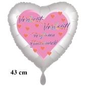 Verleibt! Verlobt! Herzlichen Glückwunsch! Herzluftballon, 43 cm, satinweiß, mit Helium