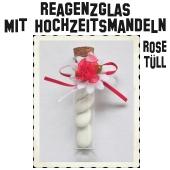 Reagenzglas mit Hochzeitsmandeln, 10 cm, Transparent mit Korken, verziert mit roter Rose aus Tüll
