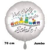 Viel Erfolg in der Schule. Luftballon aus Folie, 70 cm, inklusive Helium, Satin de Luxe, weiß