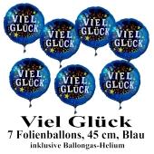Viele Glück. 7 Luftballons aus Folie mit Ballongas-Helium