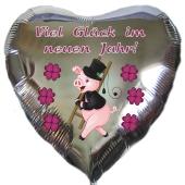 Viel Glück im neuen Jahr, Herzluftballon in Silber aus Folie zu Silvester und Neujahr, Silvesterdeko