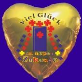 Goldener Herz-Luftballon mit Helium Ballongas: Viel Glück im neuen Zuhause