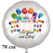 """""""Viel Glück und Erfolg zum Schulanfang!"""" ABC. Runder Luftballon, satinweiß, 70 cm"""