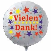 Vielen Dank! Weißer, runder Luftballon aus Folie mit Helium Ballongas