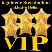 VIP Party, Partydekoration, 6 holografische Sternballons in Gold mit Helium