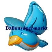 Luftballon Vogel blau, 3 D, Folienballon mit Ballongas
