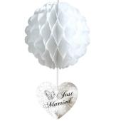 Wabenball Just Married, Weiß, Raumdekoration zur Hochzeit