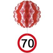 Wabenball Verkehrsschild 70, Raumdekoration zum 70.