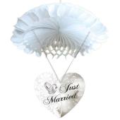 Wabendeko Just Married, Weiß, Raumdekoration zur Hochzeit