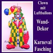 Clown mit Luftballons, Wanddekoration und Bühnendekoration zu Karneval und Fasching