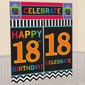 Wanddekoration Celebrate 18, Poster-Set zum 18. Geburtstag