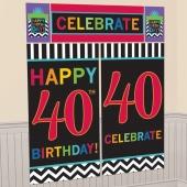 Wanddekoration Celebrate 40, Poster-Set zum 40. Geburtstag