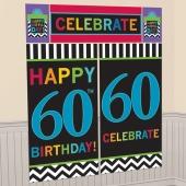 Wanddekoration Celebrate 60, Poster-Set zum 60. Geburtstag