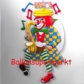 Clown mit Saxophon, Wanddekoration zu Karneval und Fasching