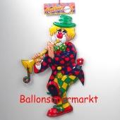 Clown mit Trompete, Wanddekoration zu Karneval und Fasching