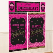 Wanddekoration Born to be fabulous, Happy Birthday, Poster-Set zum Geburtstag