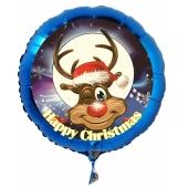 Luftballon aus Folie zu Weihnachten, Happy Christmas, Rudolph mit Helium