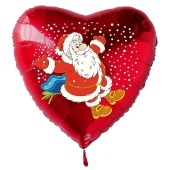 Weihnachtsmann im Schnee Luftballon, Herzballon rot zu Nikolaus und Weihnachten