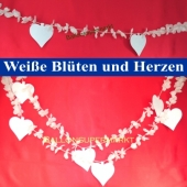 Hochzeitsgirlande, weiße Blüten und Herzen, Hochzeitsdekoration