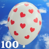 Luftballons 30 cm, Pastell-Weiß mit roten Herzen, 100 Stück