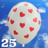 Luftballons 30 cm, Pastell-Weiß mit roten Herzen, 25 Stück