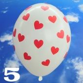 Luftballons 30 cm, Pastell-Weiß mit roten Herzen, 5 Stück