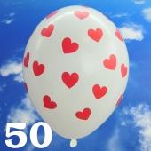 Luftballons 30 cm, Pastell-Weiß mit roten Herzen, 50 Stück